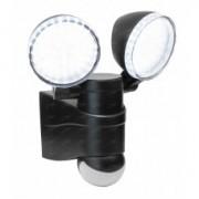 ALL LED AFLTBK012/40 Twin Head Floodlight c/w PIR 4000K 12w Black
