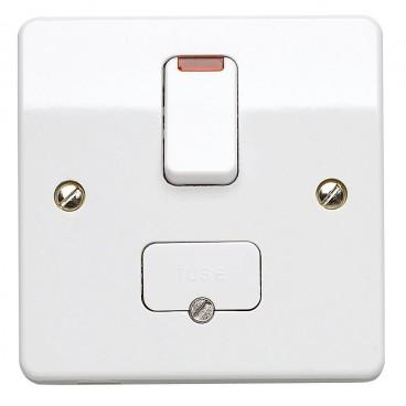 MK K370WHI Logic Plus Connection Unit DP Switched Fuse Neon c/w Base Flex Outlet 13A (White)